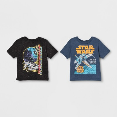 Toddler Boys' 2pk Star Wars Short Sleeve T-Shirts - Black/Blue