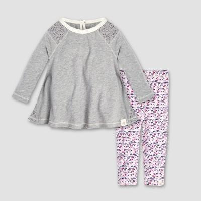 Burt's Bees Baby® Baby Girls' Crochet Inset Tunic and Leggings Set - Heather Gray