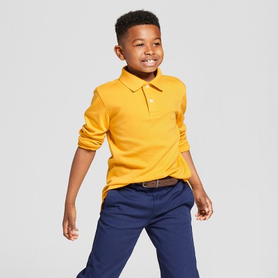 Boys' Long Sleeve Interlock Uniform Polo Shirt - Cat & Jack™