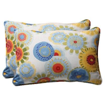outdoor 2 piece lumbar toss pillow set blue white yellow floral 24