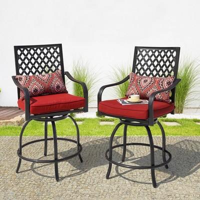swivel metal balcony height outdoor bar stool with red cushion nuu garden