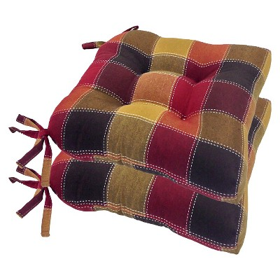 chair cushions with tie backs snowman covers for sale harris plaid woven pads tiebacks set of 4 target about this item