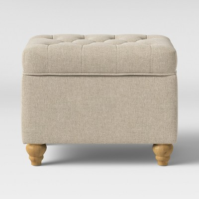 frankford tufted storage ottoman cream with natural legs threshold