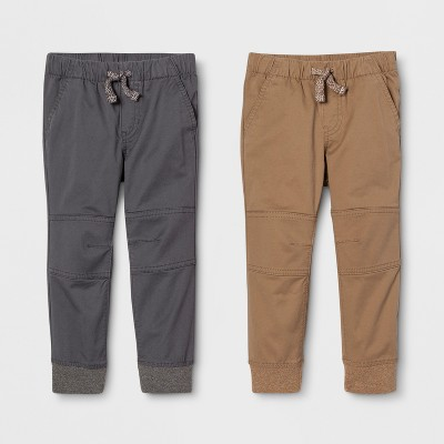 Toddler Boys' Jogger Fit 2pk Pull-On Pants - Cat & Jack™ Brown/Gray