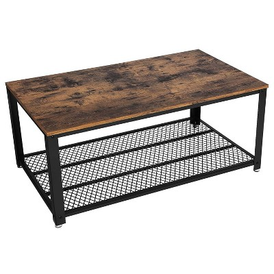 metal frame coffee table with wooden top and mesh bottom shelf brown and black benzara