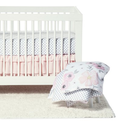Sweet Jojo Designs Crib Bedding Set - Watercolor Floral - 11pc Pink/Gray