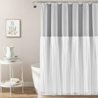 linen button shower curtain blue lush
