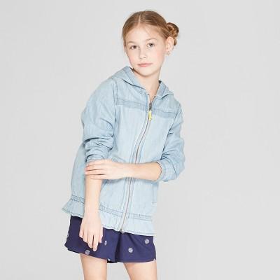 Girls' Long Sleeve Chambray Jacket - Cat & Jack™ Blue
