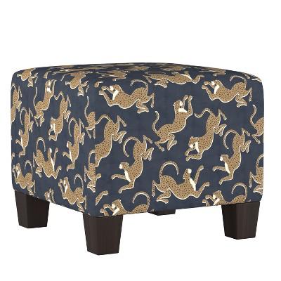 annie square ottoman navy leopard print skyline furniture