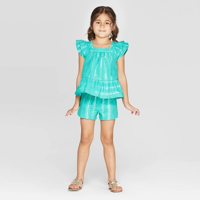 Toddler Girls' Striped Woven Top and Bottom Set - Cat & Jack™ Teal