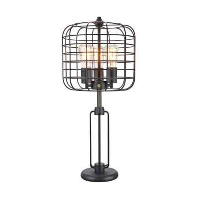 Industrial Cage Table Lamp Black (Lamp Only) - Ore International