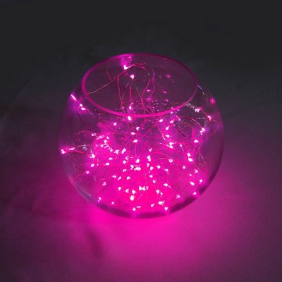 2ct Battery Operated Submersible Mini String Lights LED With Timer Pink - Lumabase