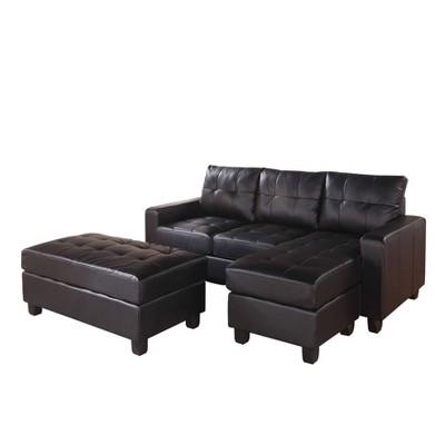 3pc sectional sofa with ottoman set black benzara