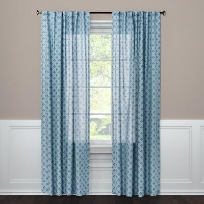 """Light Filtering Curtain Panel Suzani Blue 108"""" - Threshold™"""