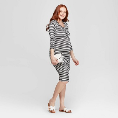 Maternity 3/4 Sleeve Midi T-Shirt Dress - Isabel Maternity by Ingrid & Isabel™ Blue