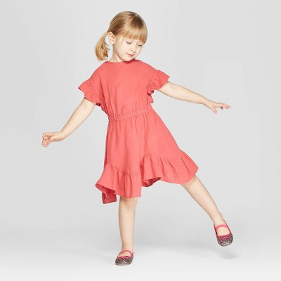 Toddler Girls' Ruffle Short Sleeve A-Line Dress - art class™ Red