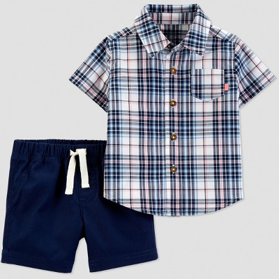 Baby Boys' 2pc Plaid Shorts Set - Just One You® made by carter's Navy Blue