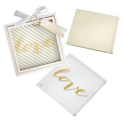 12ct Kate Aspen Gold Love Glass Coaster
