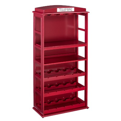 Phone Booth Bar Cabinet Wine Storage Deep Red - Aiden Lane