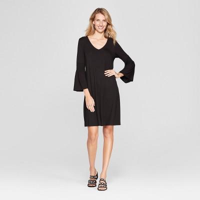Women's Ruched Bell Sleeve Knit Swing Dress - Spenser Jeremy - Black