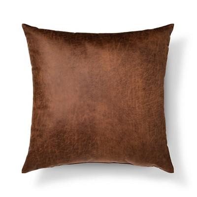 brown throw pillow faux