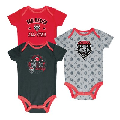New Mexico Lobos Baby Boy Short Sleeve 3pk Bodysuit