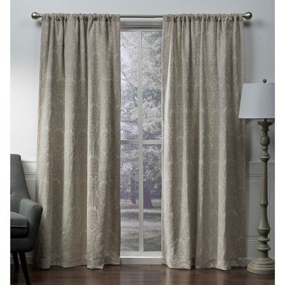 Damask Medallion Heavyweight Chenille Jacquard Room Darkening Rod Pocket Window Curtain Panel Pair - Exclusive Home™