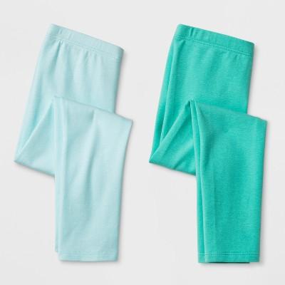 Toddler Girls' 2pk Leggings - Cat & Jack™ Mint Green & Aqua