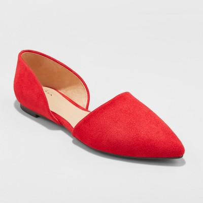 Women's Rebecca Microsuede Pointed Two Piece Ballet Flats - A New Day™