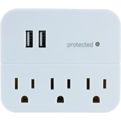 GE 3-Outlet 2 USB Port Surge Protector Tap, White