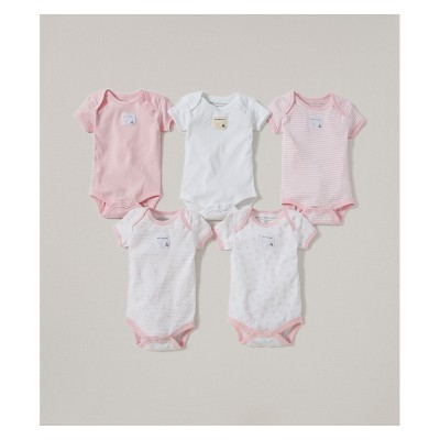 Burt's Bees Baby® Organic Cotton 5pk Short Sleeve Bodysuit Set - Blossom