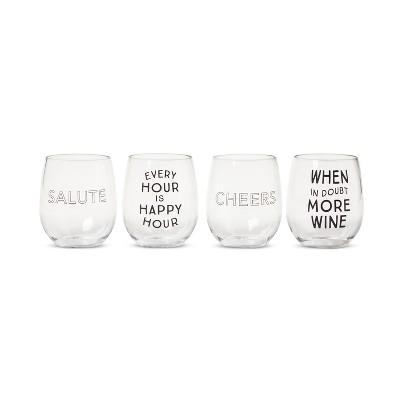 Plastic Stemless Wine Glasses 13.4oz Set of 4 - Room Essentials™