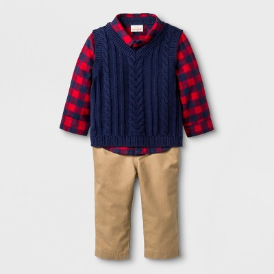Baby Boys' 3pc Collared Button-Down Flannel Bodysuit, Sweater Vest and twill Pants - Cat & Jack™ Blue