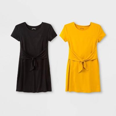 Girls' Tie Front 2pk Dress - art class™ Yellow/Black