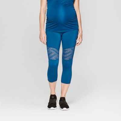 Maternity Active Geo Mesh Capri Leggings - Isabel Maternity by Ingrid & Isabel™ Saphire Burst Blue
