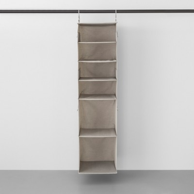 6 Shelf Hanging Fabric Storage Organizer Light Gray - Made By Design™