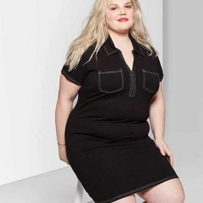 Women's Plus Size Short Sleeve V-Neck Zip Front Collared Knit Dress - Wild Fable™ Black