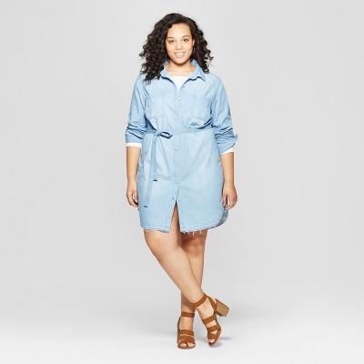 Women's Plus Size Sleeveless Collared Denim Shirtdress - Universal Thread™