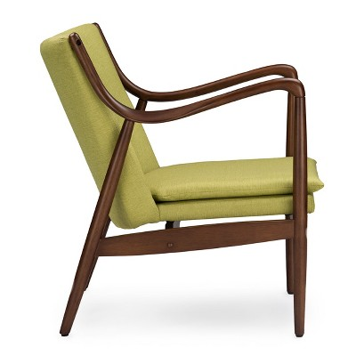 wood frame accent chairs rattan 2 and table set shakespeare mid century modern retro fabric upholstered leisure chair in walnut baxton studio target