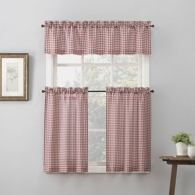 36 x54 parkham farmhouse plaid rod pocket semi sheer kitchen curtain valance and tiers set red white no 918