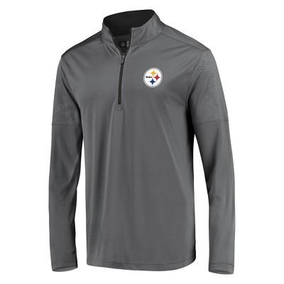 NFL Pittsburgh Steelers Men's Poly Embossed Gray 1/2 Zip Hoodie