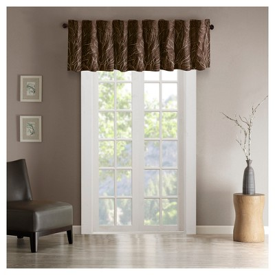 "50""x18"" Aden Faux Silk Embro Blackout Window Valance Chocolate"