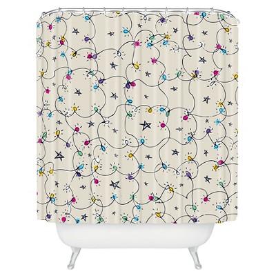 sam osborne fairy lights shower curtain blue deny designs