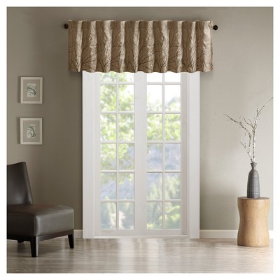 "50""x18"" Aden Faux Silk Embro Blackout Window Valance Tan"