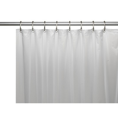 carnation home mildew resistant 10 gauge vinyl shower curtain liner metal grommets mesh header frosty clear 72 x 72