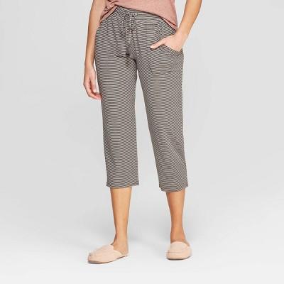 Women's Striped Beautifully Soft Crop Pajama Pants - Stars Above™ Gray