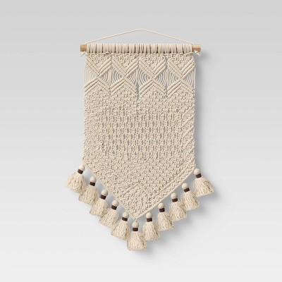 15 x 24 hand made cotton macrame wall art cream opalhouse