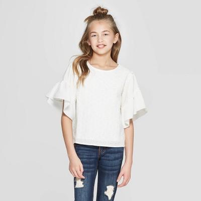 Girls' Eyelet Flutter Sleeve Top - art class™ White