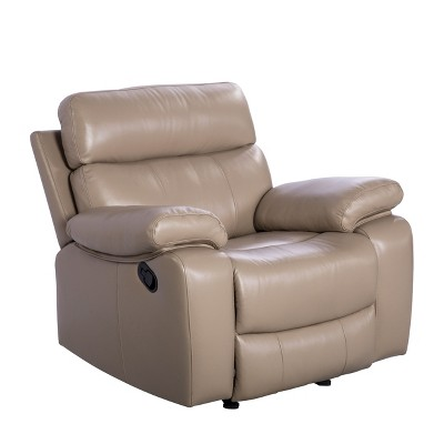 Cameron Leather Reclining Armchair Beige - Abbyson Living
