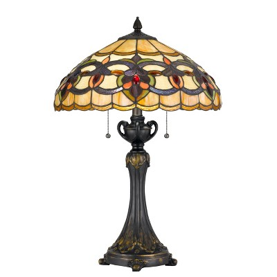 60W X 2 Tiffany Table Lamp Brown/Yellow (Lamp Only) - Cal Lighting